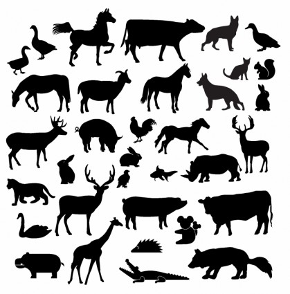 Farm animal silhouette collection.