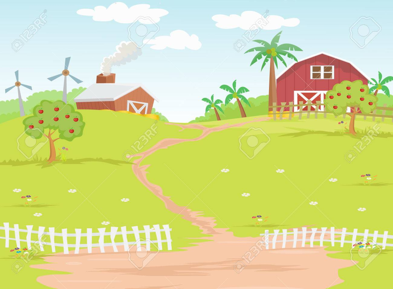 Background farm in the countryside.