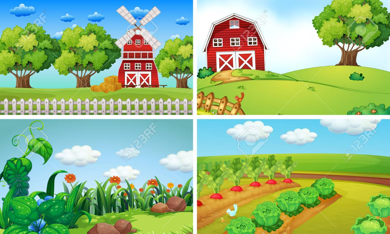 Background scenes with vegetables on the farm illustration.