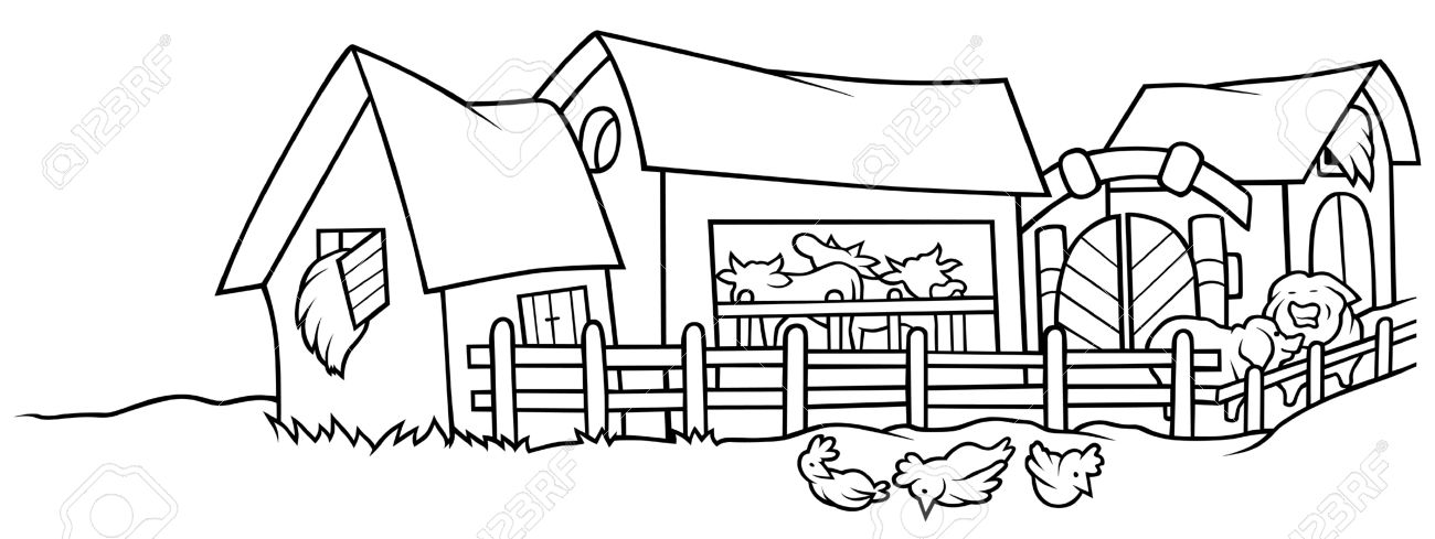 Free Black And White Farm Clip Art.