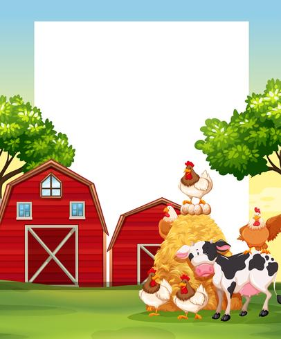 Border template with animals in the farm.