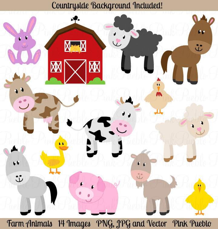 Clipart baby farm animals.