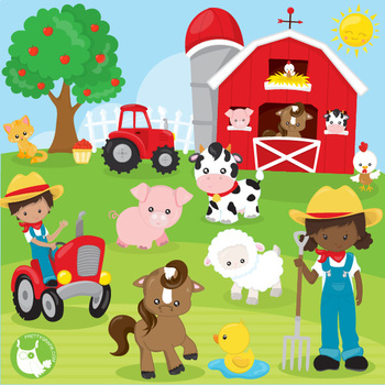 Happy farms clipart commercial use, vector graphics.
