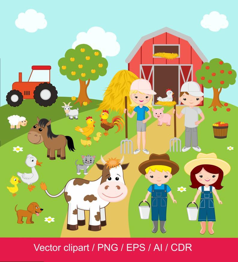 Farm Clipart / Farm digital clip art / barnyard clipart / farm animals clip  art / domestic animals / for commercial use / jpg / png / eps.