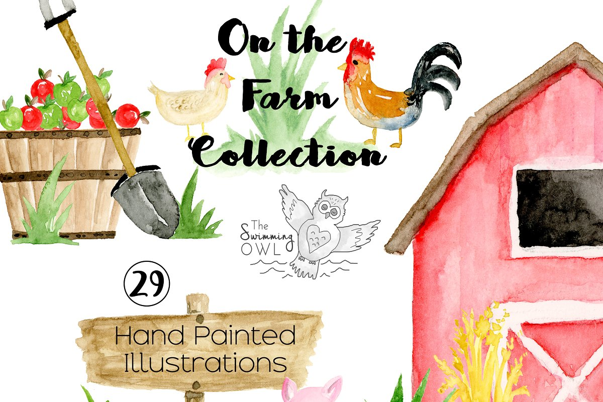 Farm Watercolor Clipart.