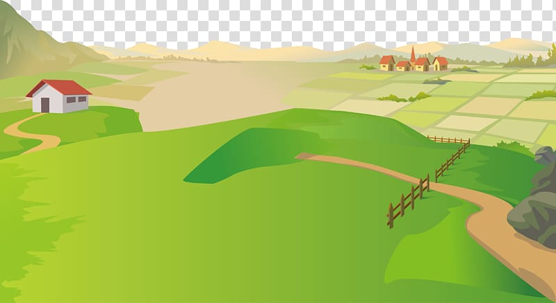 Farm and houses graphic, Natural landscape Cartoon Nature.
