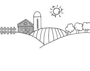 Black and White Cartoon Barn.