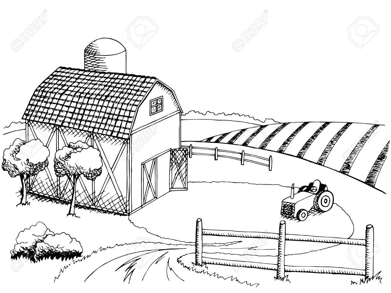 Farm field graphic art black white landscape illustration vector.