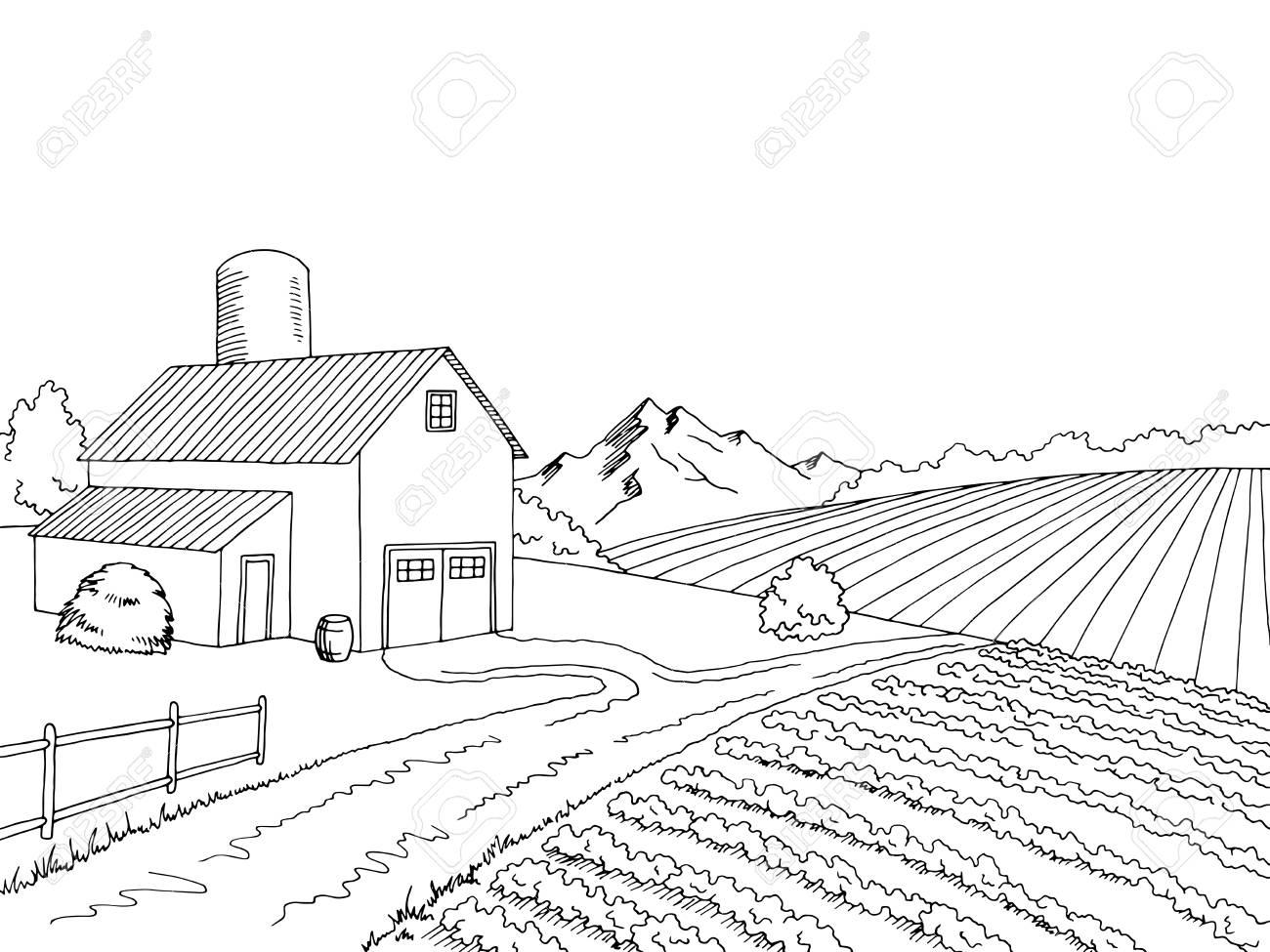 Farm field graphic black white sketch illustration vector.