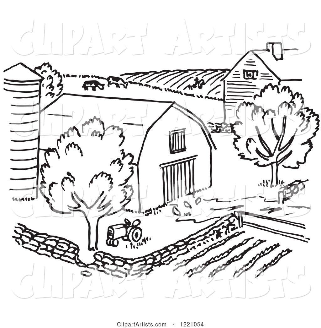 Black and White Farm Clipart by Picsburg.