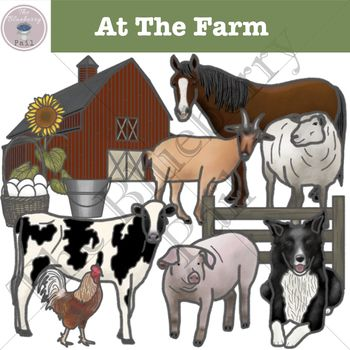 At The Farm Clipart Set.