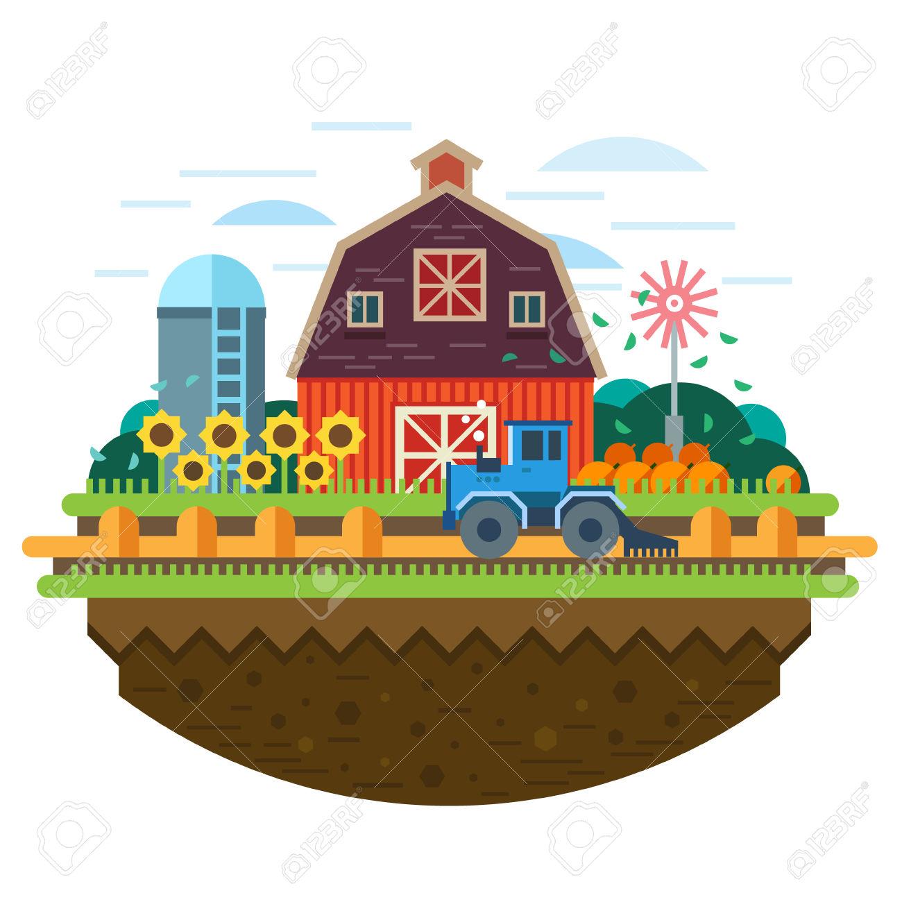 Farm Landscape. Agriculture Crop Field Hay Harvester. Vector.