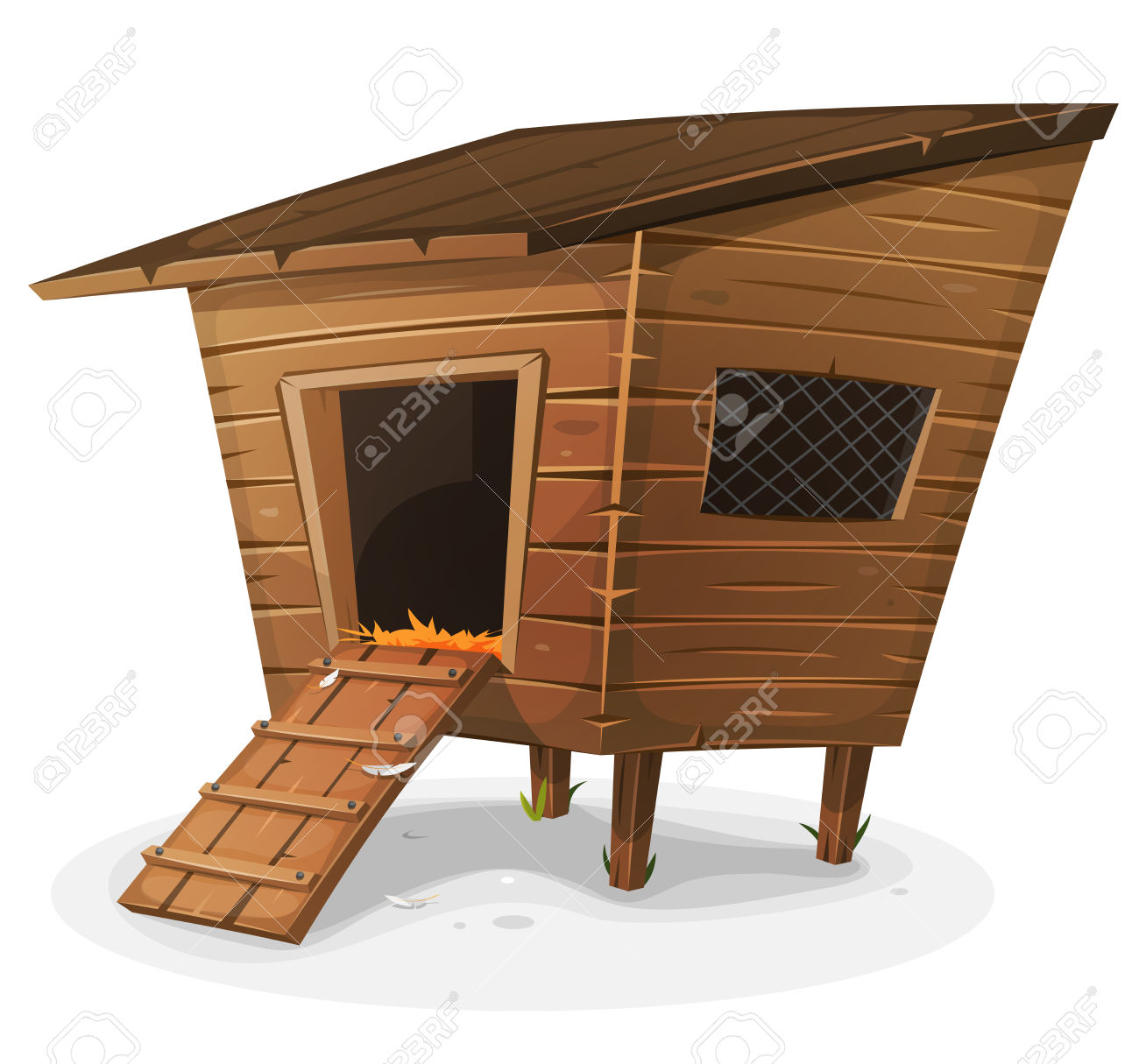 Illustration Of A Cartoon Wooden Farm Chicken Coop, With Entrance.