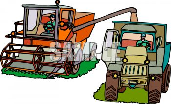 Royalty Free Clip Art Image: Harvesting Machines on a Farm.