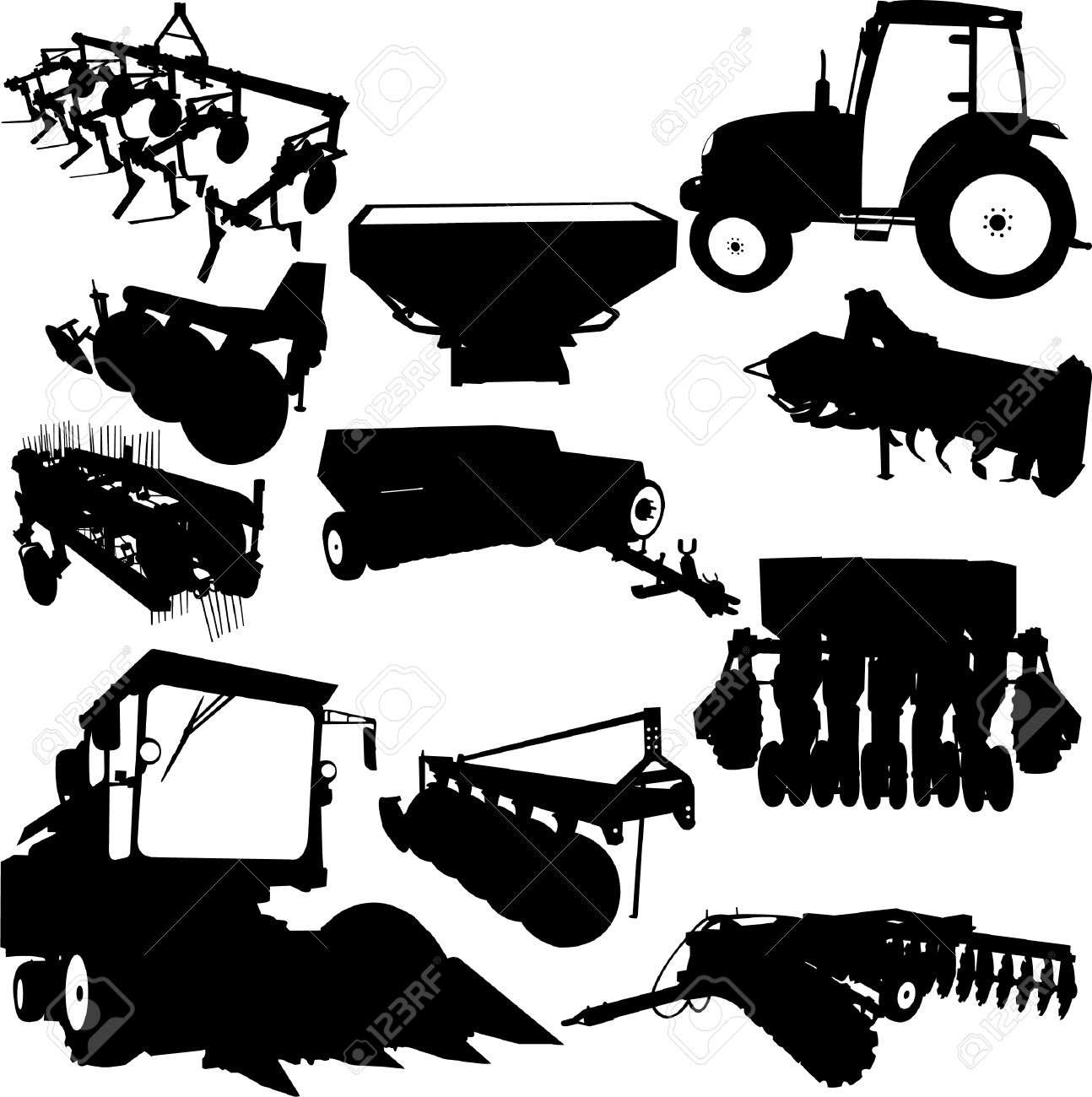 Agricultural Machinery Collection Royalty Free Cliparts, Vectors.