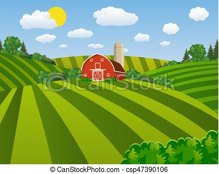 Cartoon farm green seeding field, Cartoon farm field green seeding.