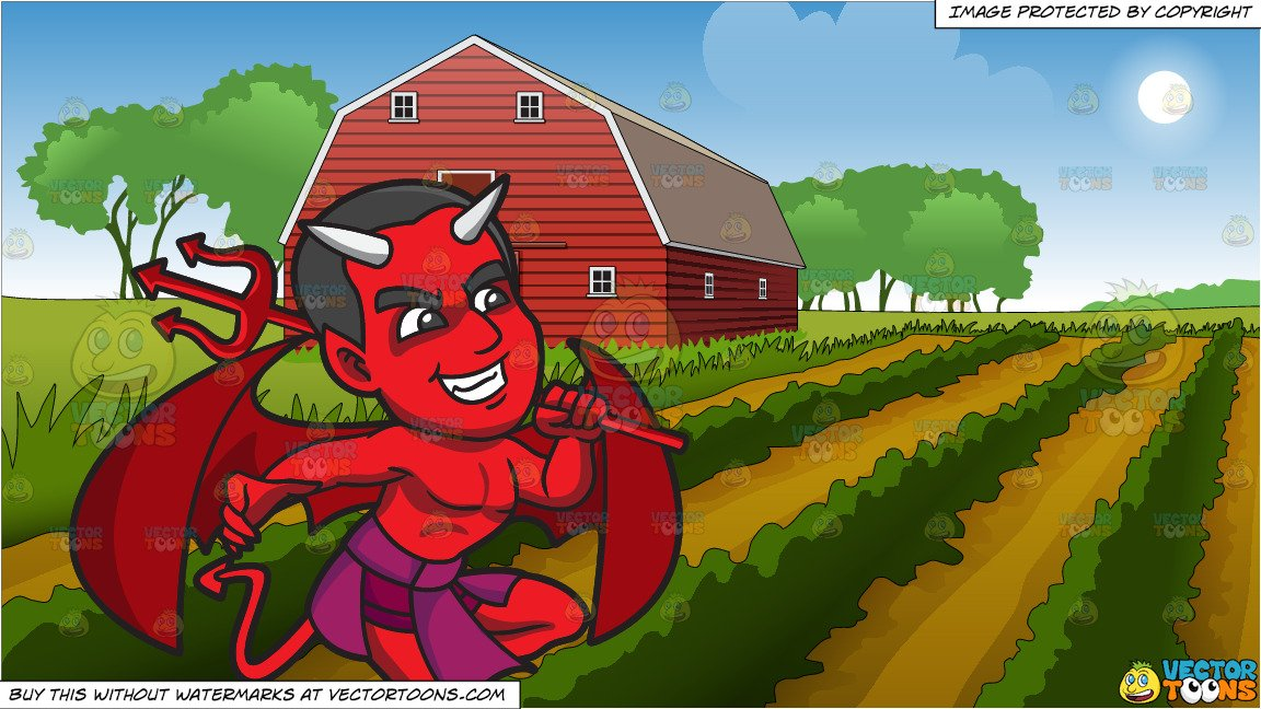 A Happy Red Devil and Farm Field And Barn Background.
