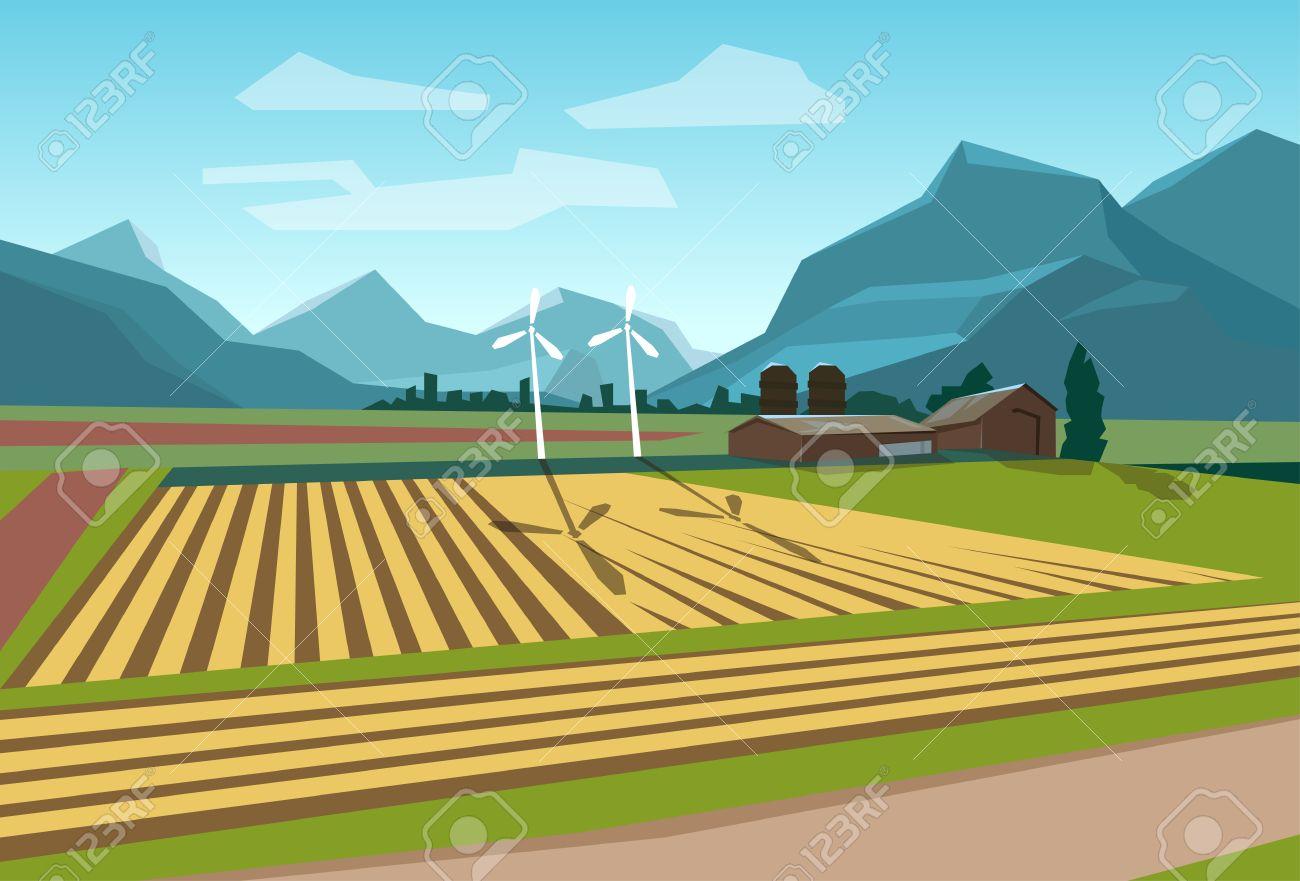 Farm Field With Wind Turbine Alternative Energy Resource Flat.