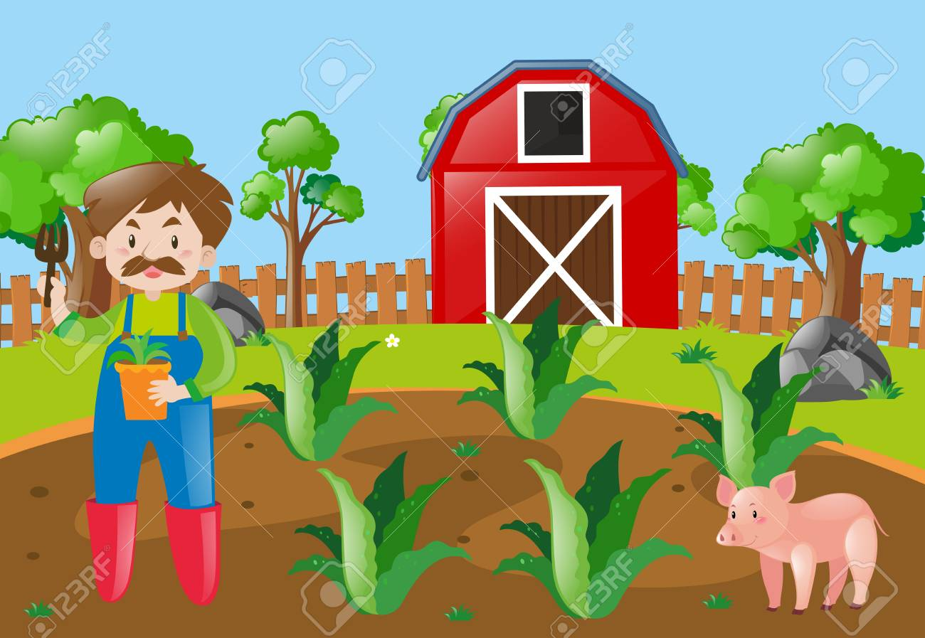 Farm Scene With Farmer Planting In Field Illustration Royalty Free.