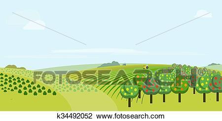 Farm field, vector illustration Clipart.