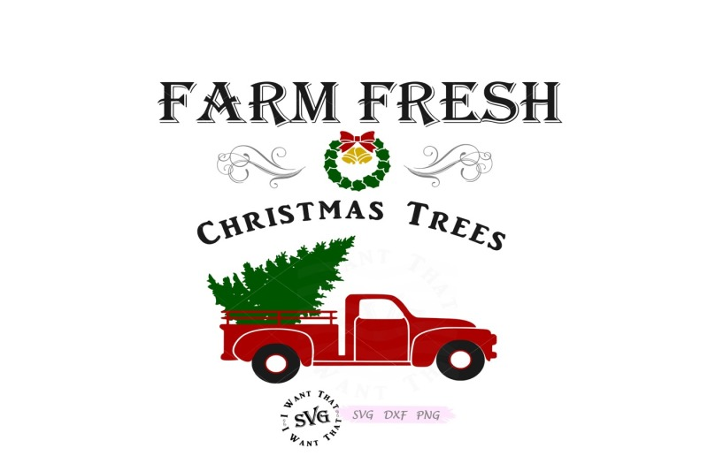 Free Farm Fresh Christmas Trees with Vintage Truck Crafter File.