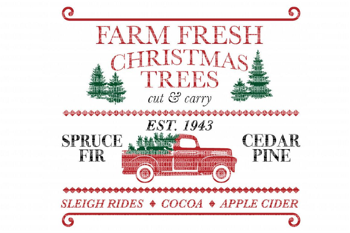 Farm Fresh Christmas Trees Red Truck SVG Files Cut Files Heat Transfer  Vinyl Scrapbooking Stencil EPS DXF Silhouette Cameo Cricut Commercial Use.