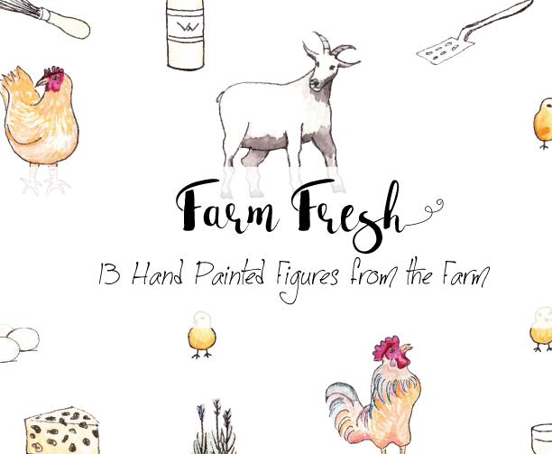 Hand Painted Farm Fresh Clipart.