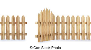 Open wooden gate clipart.