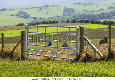 Farm Gate Stock Images, Royalty.