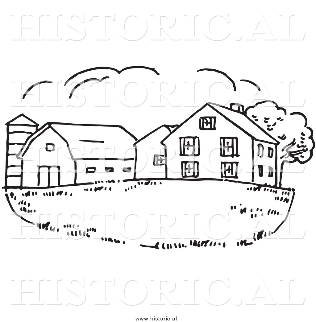 Old Farm House Black And White Clipart.