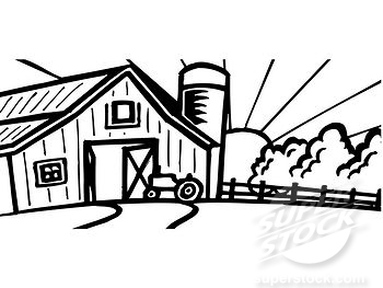 Black And White Cartoon Barn