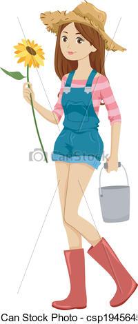 Clipart Vector of Farm Girl.