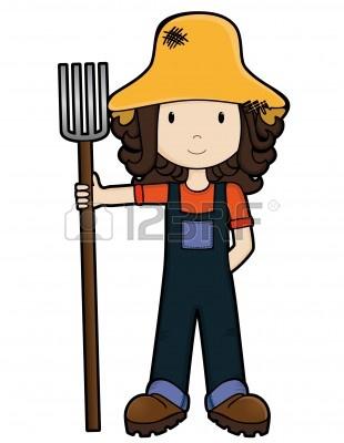Farm girl clipart.