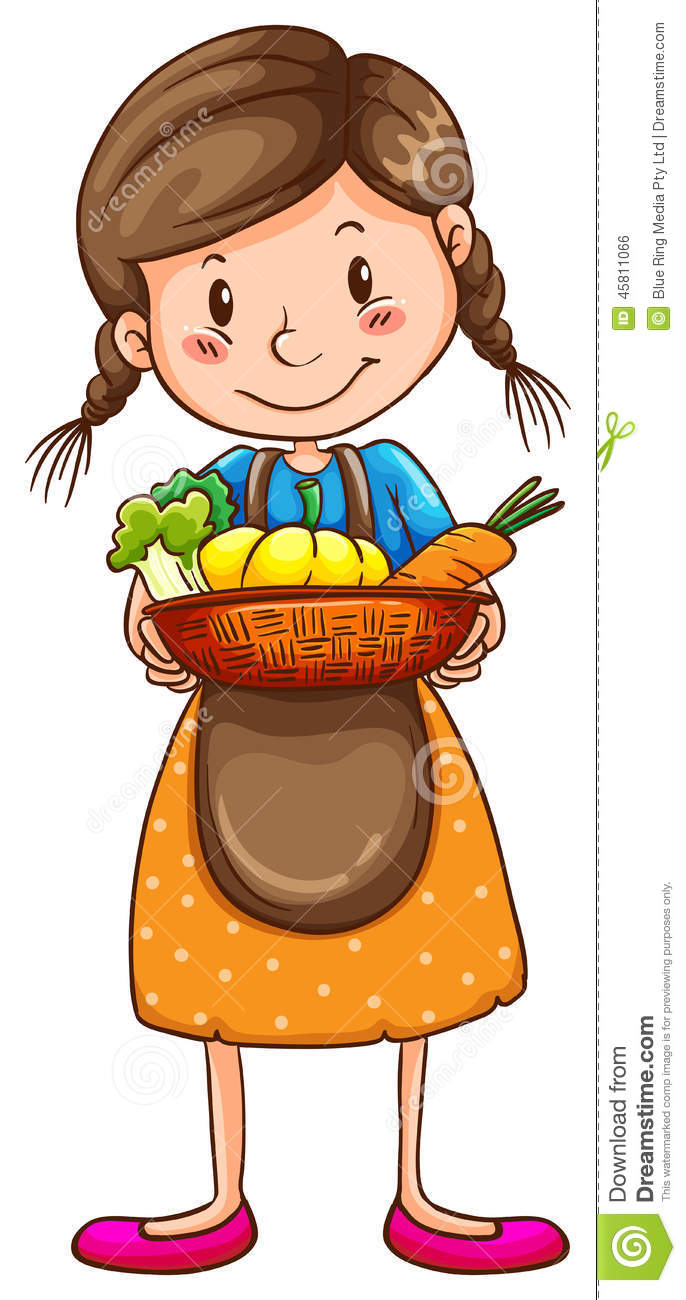 A Simple Drawing Of A Farm Girl Stock Vector.