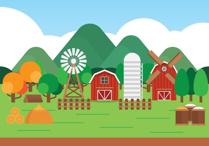Farm Cartoon Landscape.