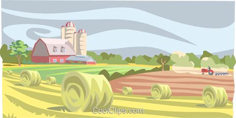 farm landscape Royalty Free Vector Clip Art illustration.
