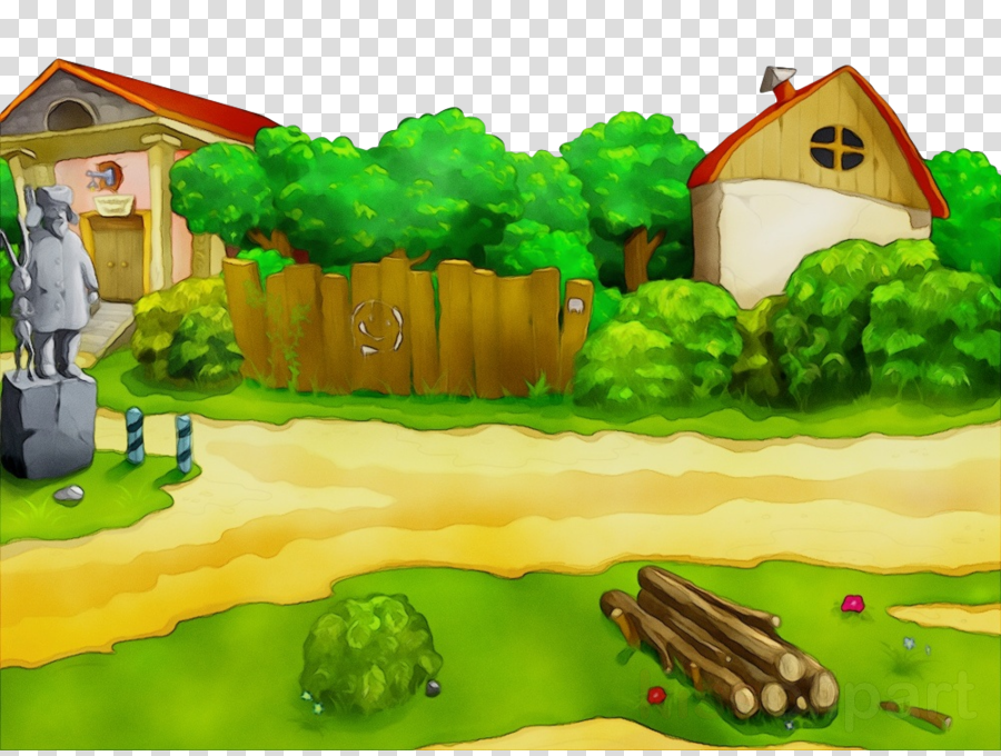 green cartoon rural area farm landscape clipart.