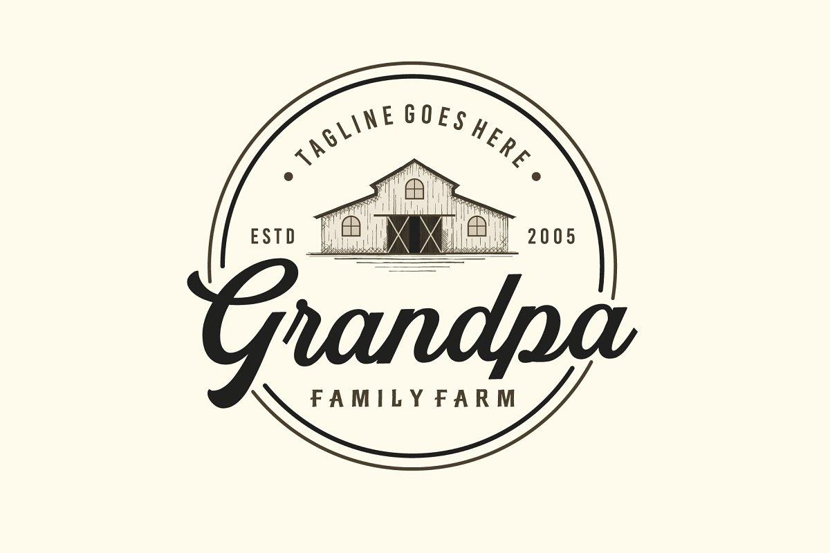Vintage Farms Typography Logo Design.