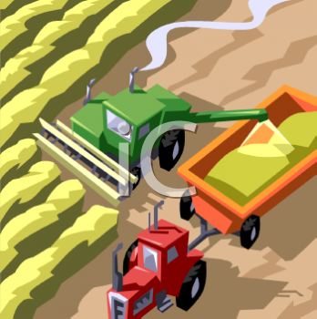 Royalty Free Clipart Image: Aeriel View of Farming Machines.