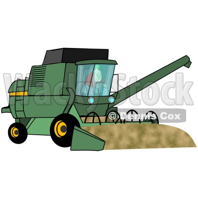 Illustration of a Male Farmer Operating A Green Harvester On His.