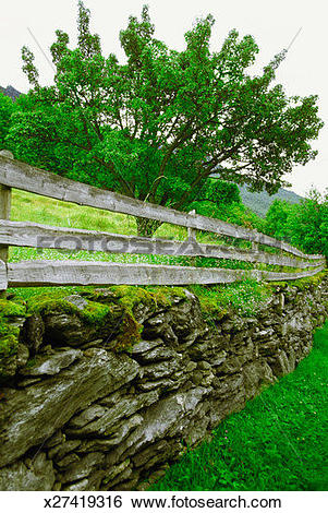 Stock Images of Norway, Flam, Otternes, Fencing of a farm museum.