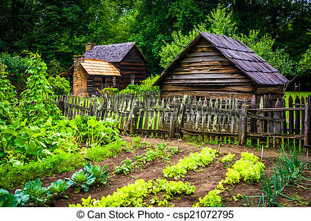 Stock Photographs of Vegetable garden and buildings at the.