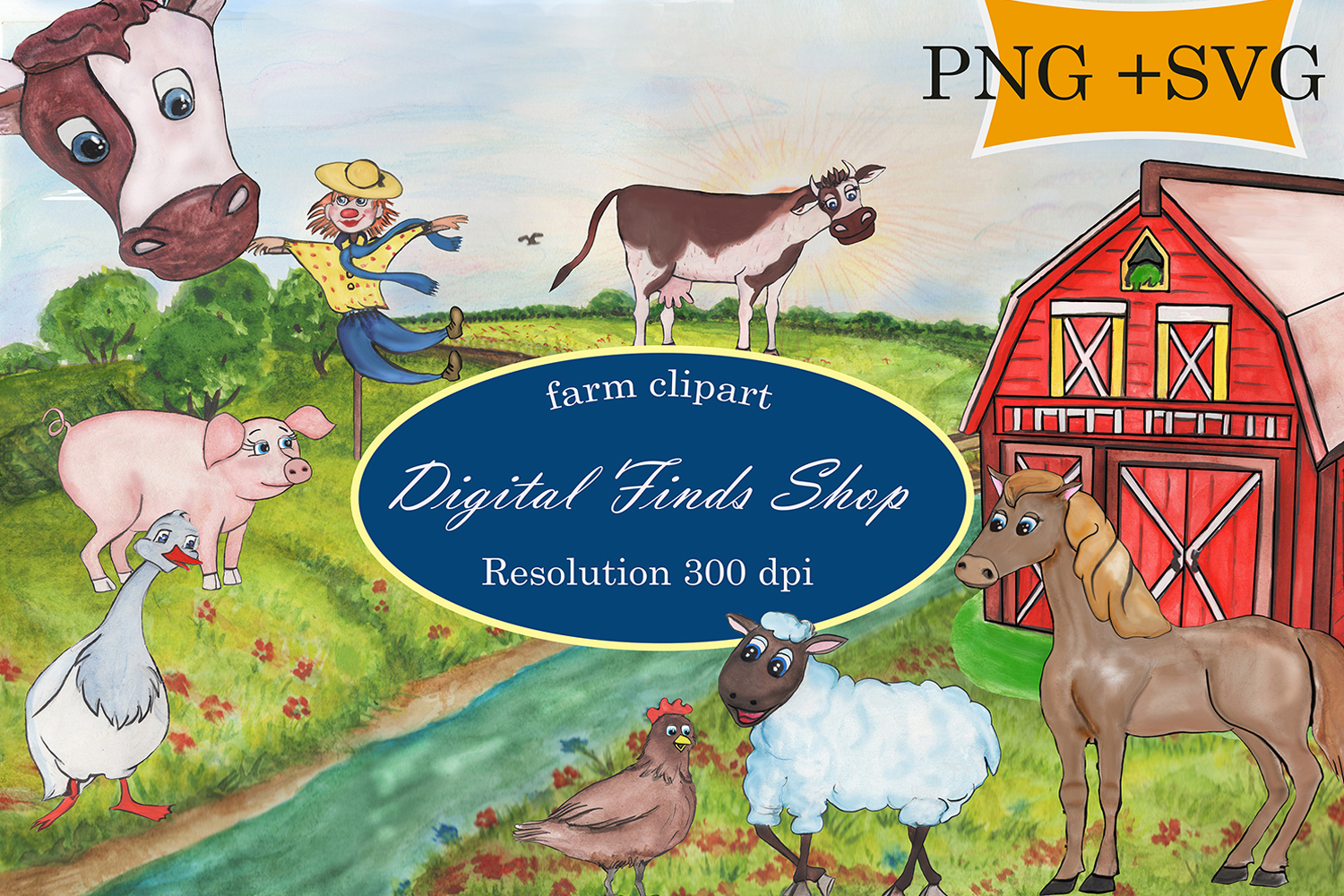 Farm clipart, farm animals in PNG, SVG formats watercolor.