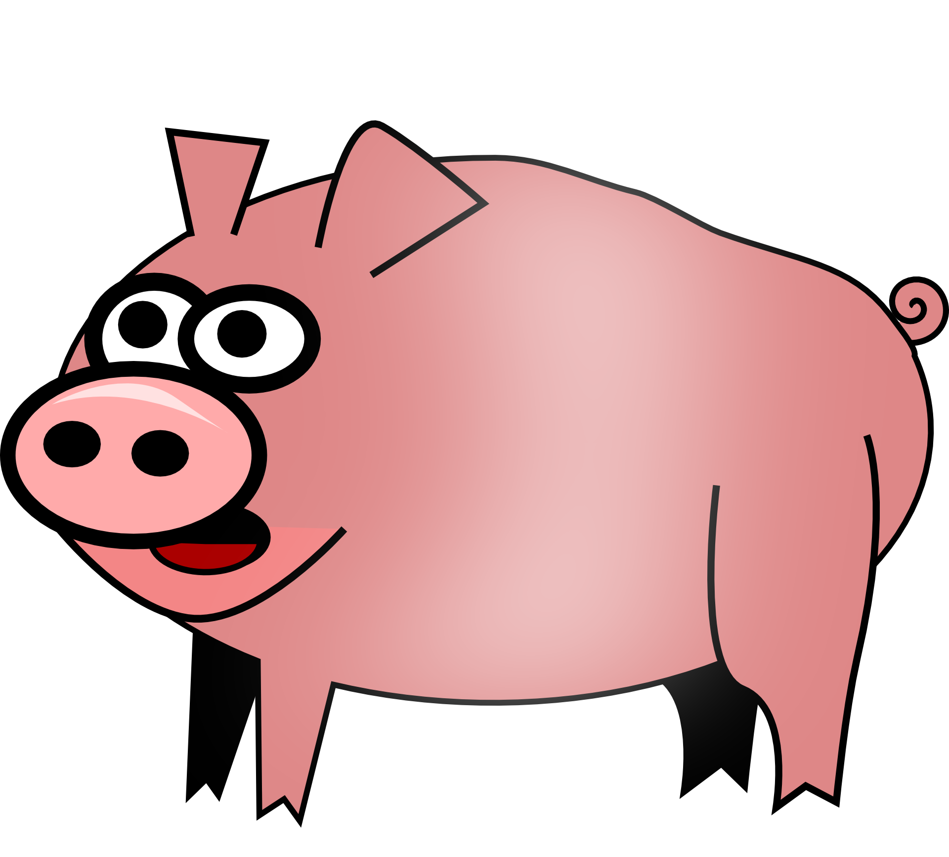 Pink farm pig clipart free image.