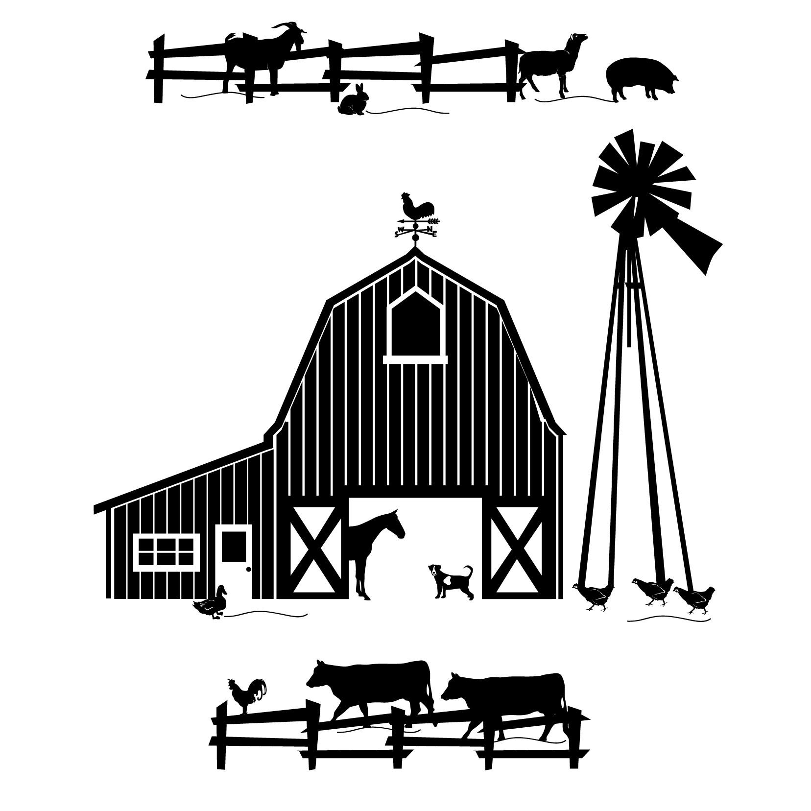Farm scene clipart black and white.