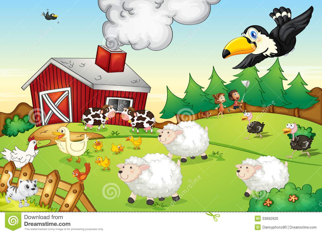 Farm Scene Clip Art.
