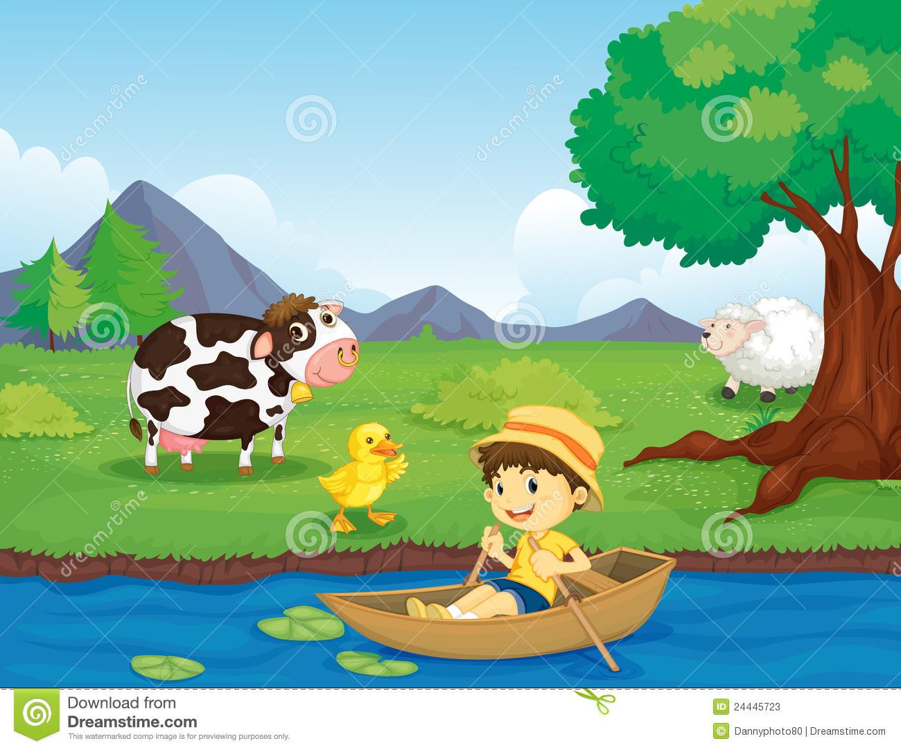 Farm Scene With River Clipart.