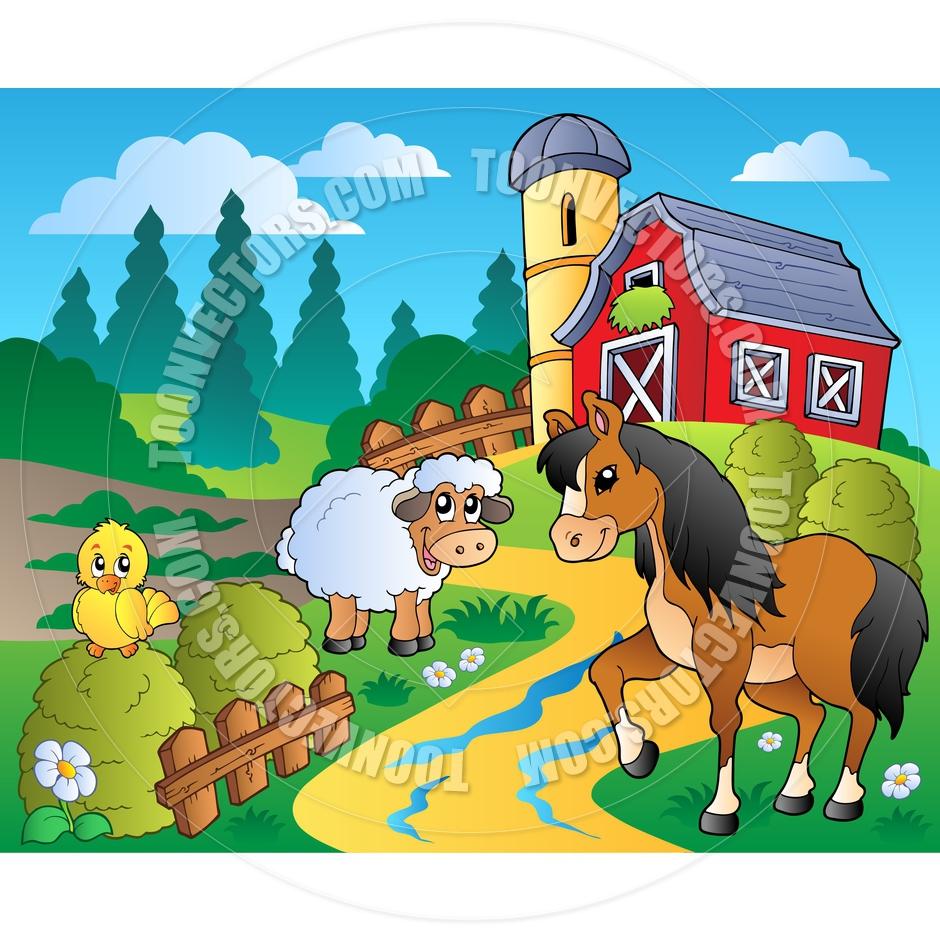 Clipart Farm Scene.