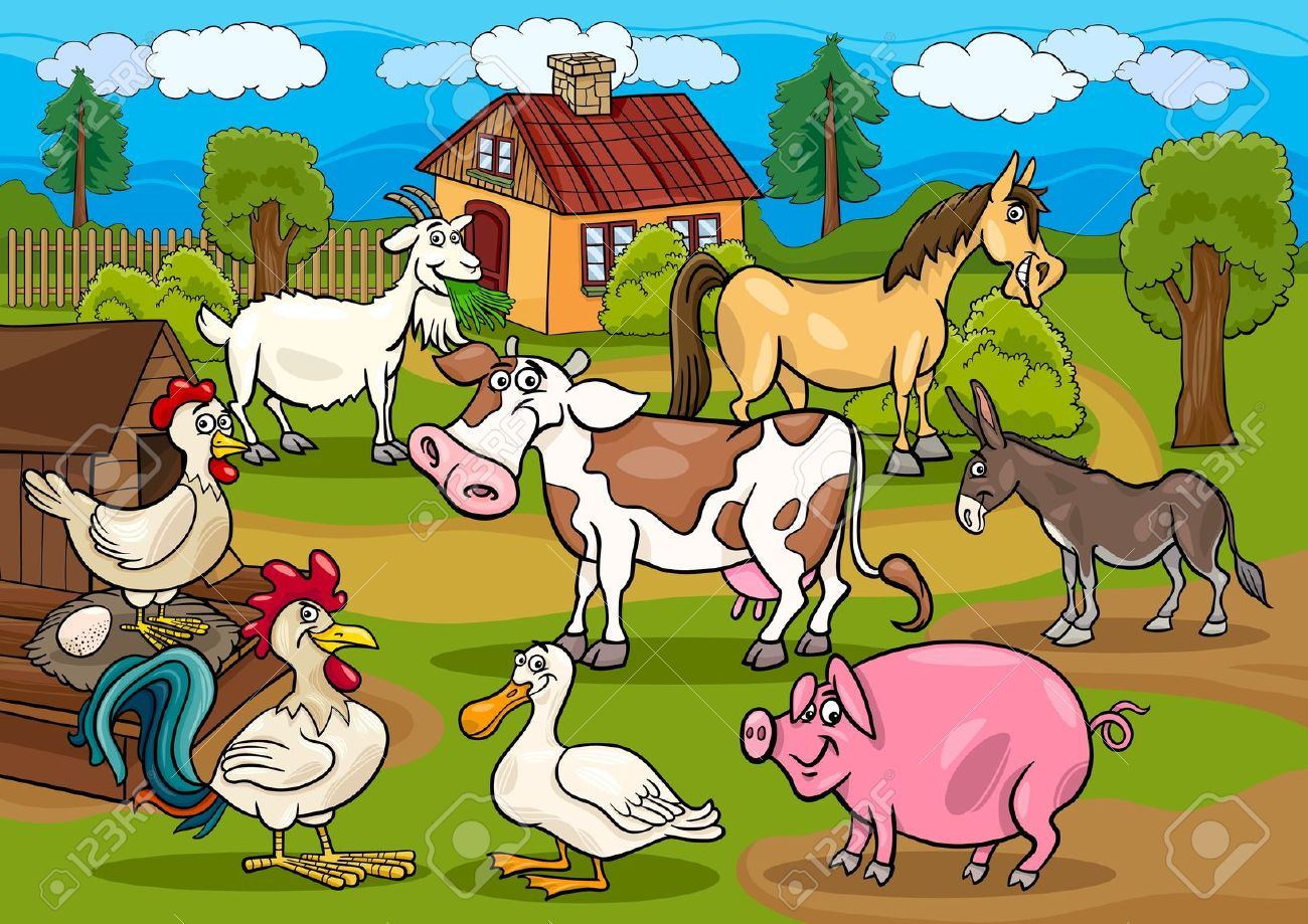 Cartoon Illustration Of Rural Scene With Farm Animals Livestock.