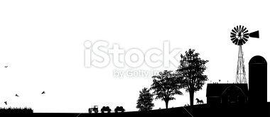 Farm Scene done in Black silhouette with barn Building.